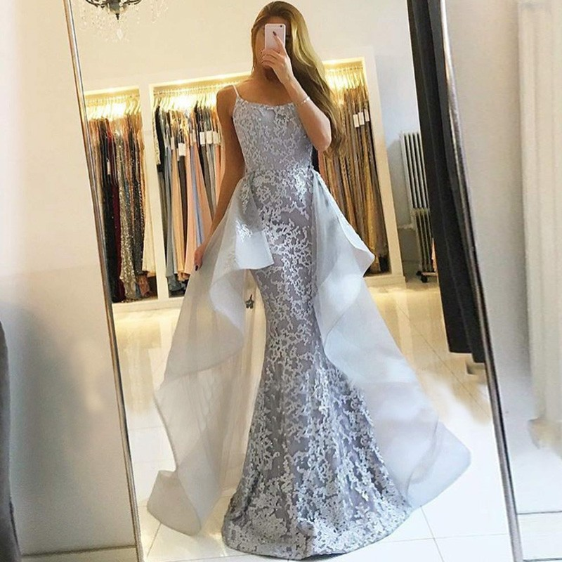 Mermaid Spaghetti Straps Grey Detachable Prom Dress with Lace
