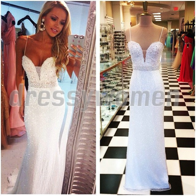 2015 The Best Selling Mermaid Spaghetti Straps Beaded Long Prom Dresses / Evening Dresses SAPD-90060