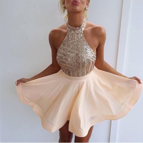 A-Line Halter Backless Short Pearl Pink Chiffon Homecoming Dress with Sequins