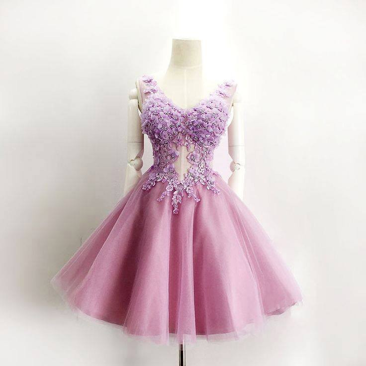 Cute V-neck A-line Flowers With Beading Short Purple Homecoming Dress