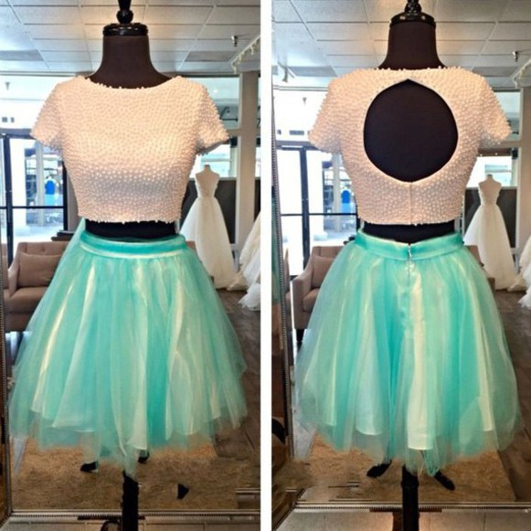 Modern Scoop Short Sleeves Pearls Top Two Piece Homecoming Dress