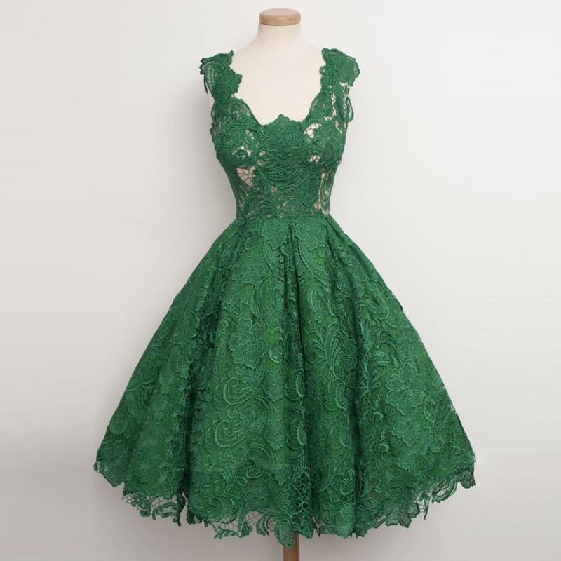 Ball Gown Scoop Knee-Length Hunter Lace Vintage Hoco Dress