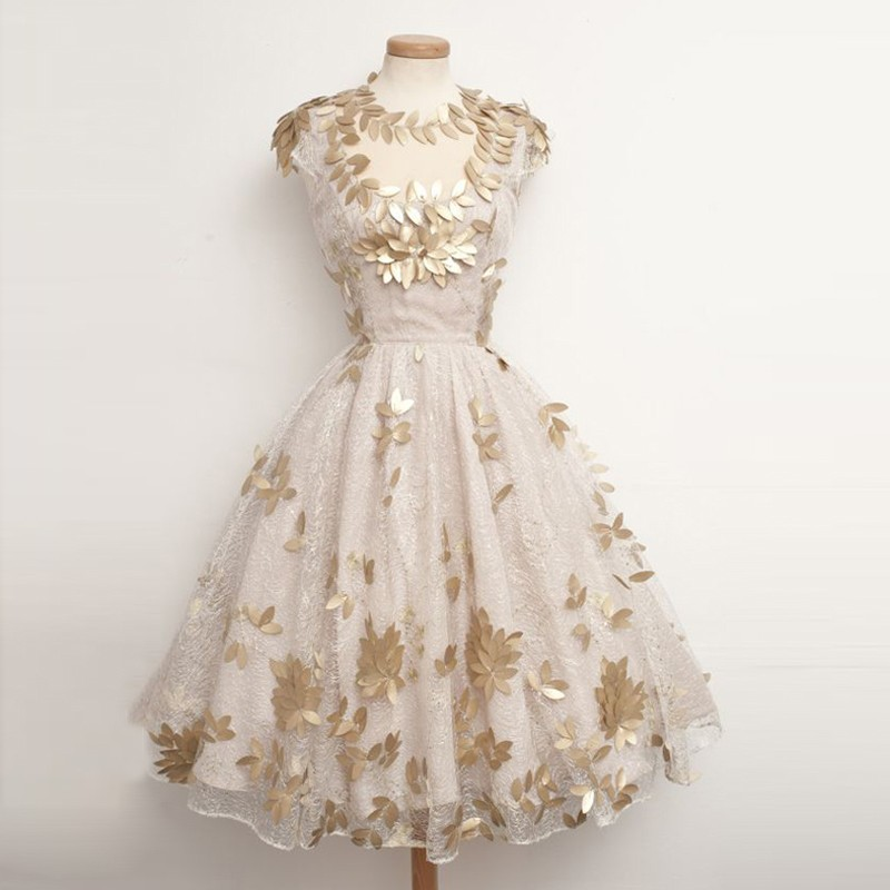 Unique Ball Gown Lace Homecoming Dresses with Gold Leaves