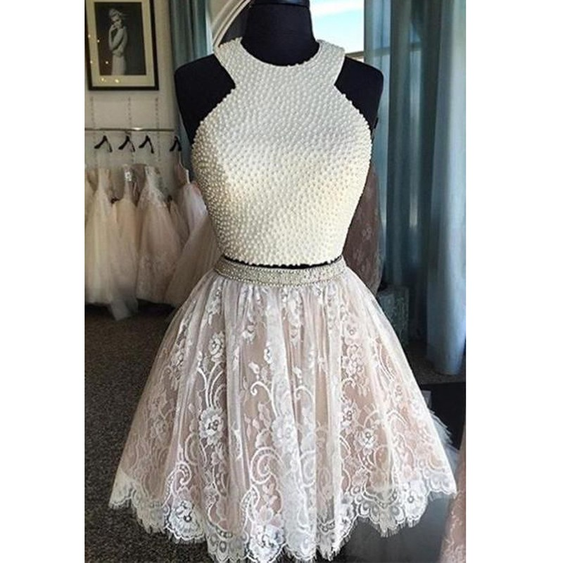Two Piece Jewel Short White Lace Homecoming Dress with Pearls