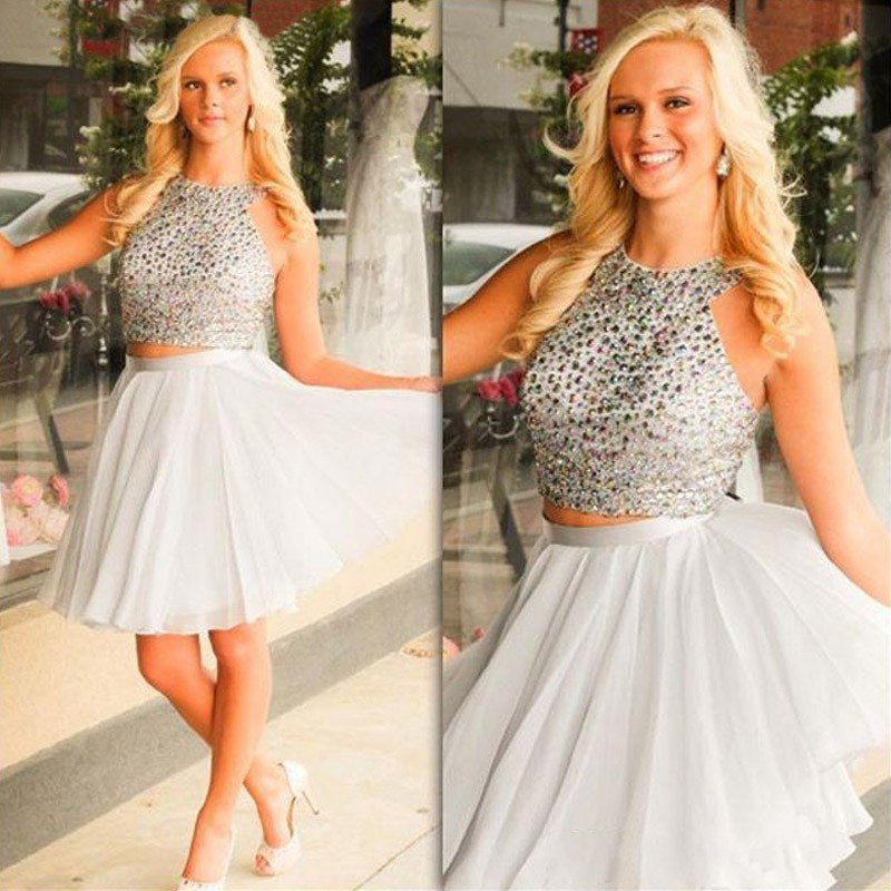 Sexy Two Piece Short Illusion Back Silver Homecoming Dresses Beaded