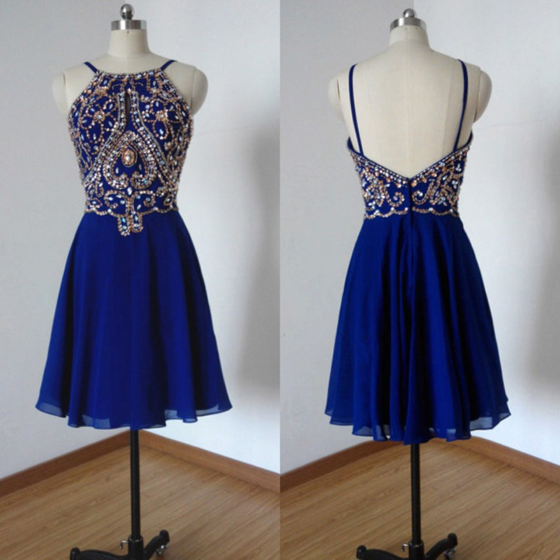 Hot Sale Spaghetti Straps Short Royal Blue Homecoming Dresses Beaded Rhinestones