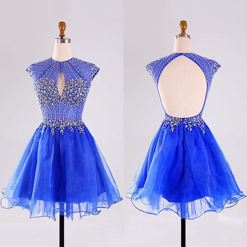 New Arrival Jewel Organza Sky Blue Open Back Homecoming Dresses Beaded Rhinestones