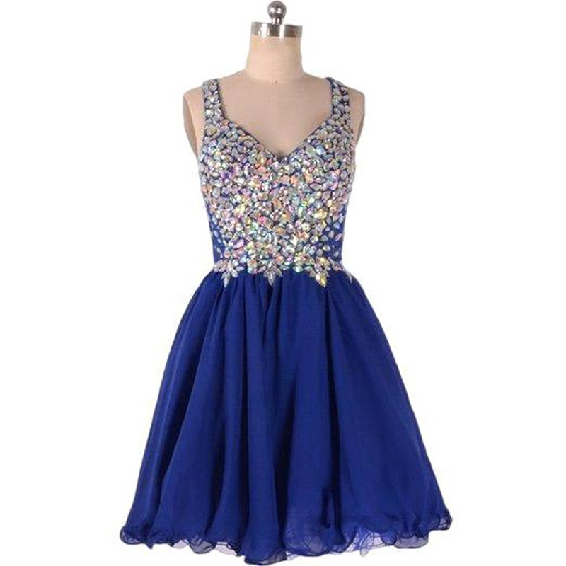 Hot-selling V-neck Short Royal Blue Homecoming Dresses with Rhinestones
