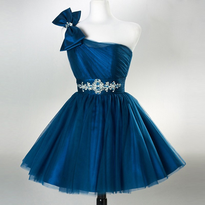 Short One Shoulder Dark Blue Homecoming Dresses with Bowknots Rhinestones