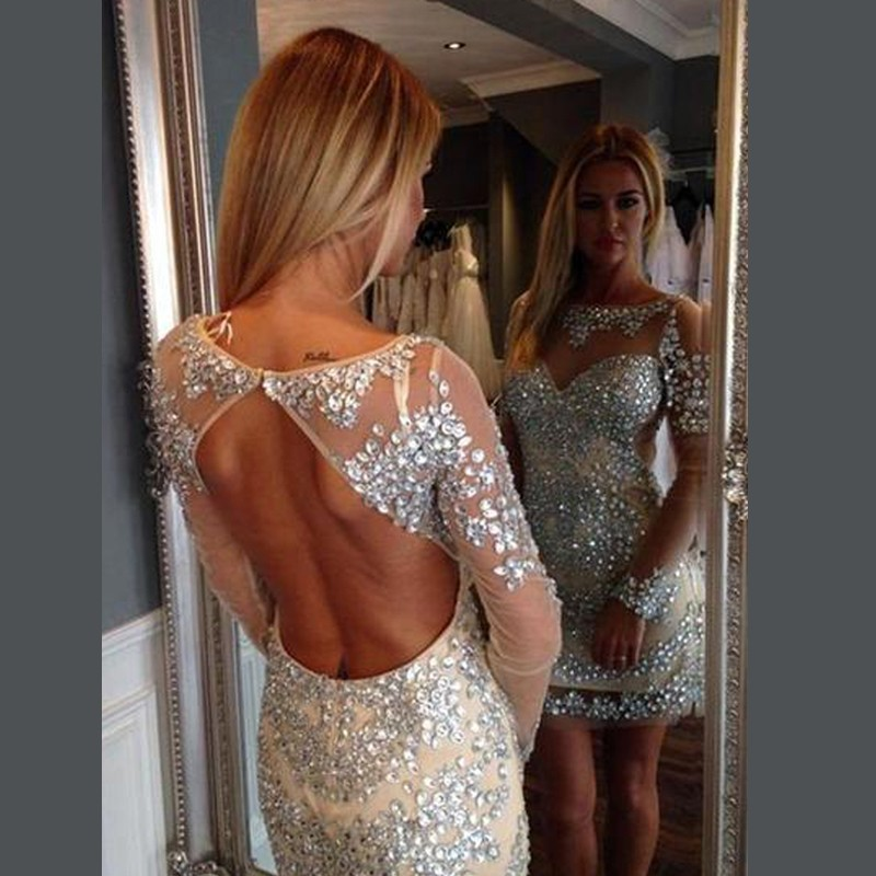 Short Light Champagne Long Illusion Sleeves Open Back Homecoming Dresses with Rhinestones