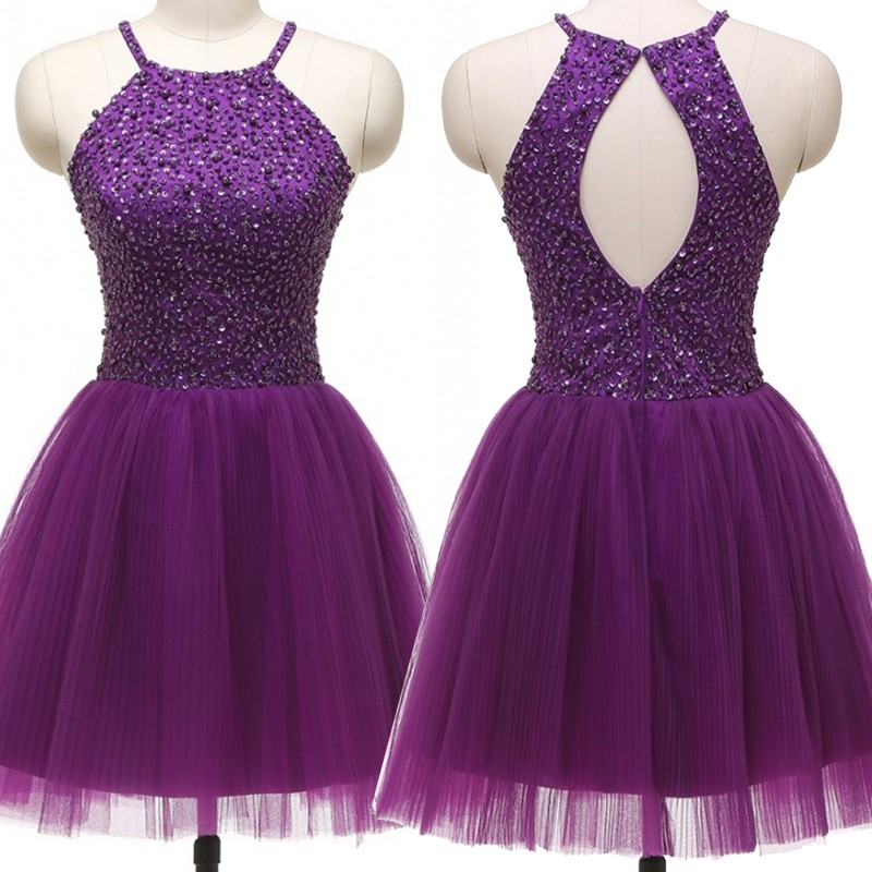 Sexy Halter Short Open Back Purple Homecoming Dresses Beaded