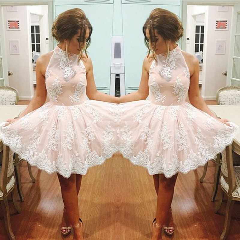 Stunning High Neck Sleeveless Short Pink Homecoming Dresses with White Lace