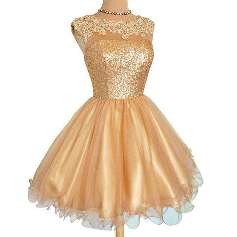 Bateau Gold Sequins Homecoming Dress with Appliques Illision Open Back