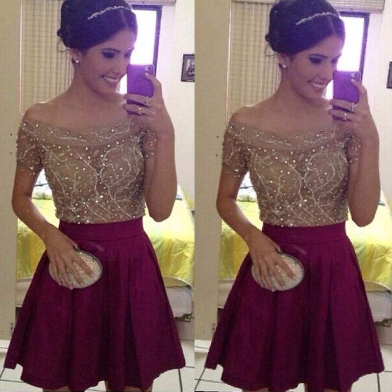 Exquisite Off-the-shoulder Short Sleeves Short Burgundy Homecoming Dress with Beading