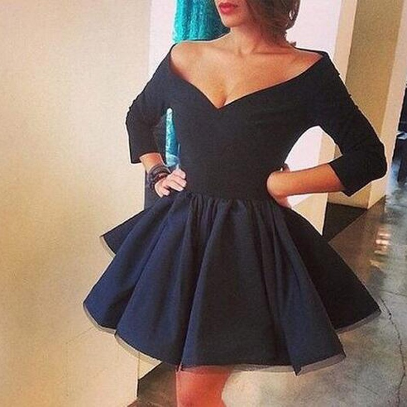 Vintage Off-the-shoulder Three-quarters Sleeves Navy Short Satin Dress for Homecoming