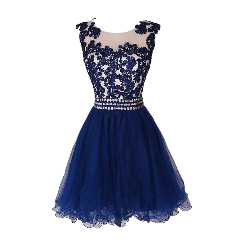 Dramatic Bateau Sleeveless Short Dark Blue Homecoming Dress with Appliques Rhinestones