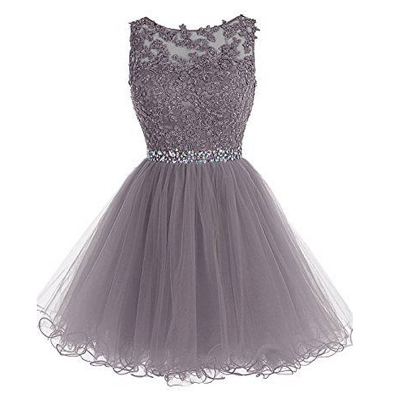 Fabulous Bateau Sleeveless Short Grey Homecoming Dress with Appliques Beading