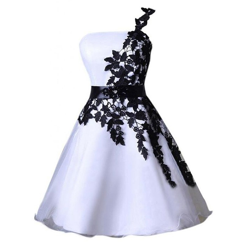 Exquisite One Shoulder Knee-Length Ivory Organza Homecoming Dress with Black Appliques