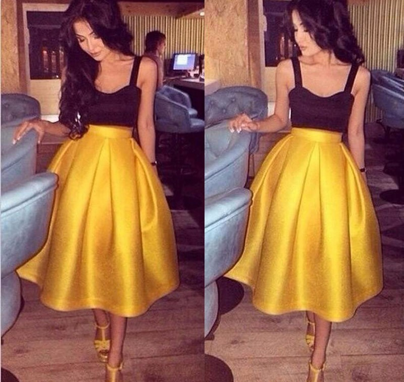 Gorgeous Square Tea-Length Sleeveless Empire Waist Gold Homecoming Dress Ruched