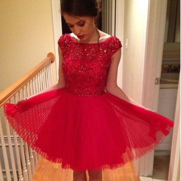 Fabulous Bateau Cap Sleeves Short Red Homecoming Dress with Beading