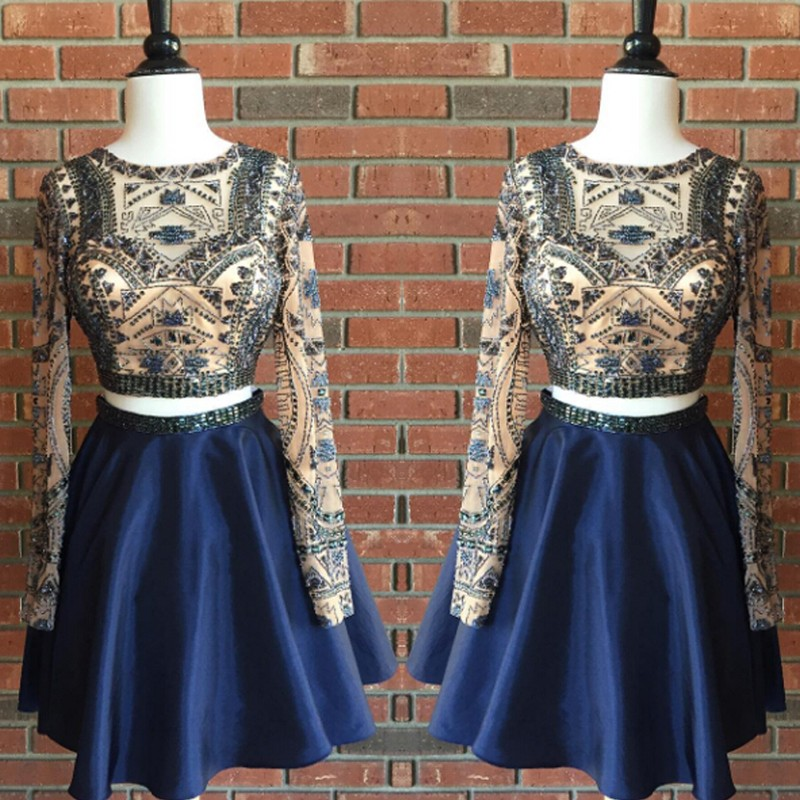 Sexy Jewel Long Sleeves Short Dark Blue Homecoming Dress with Beading