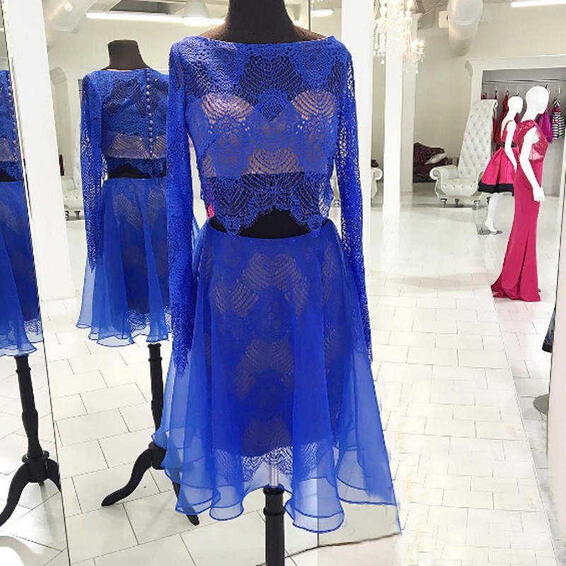Luxurious Two Piece Bateau Long Sleeves Short Royal Blue Homecoming Dress with Lace Top