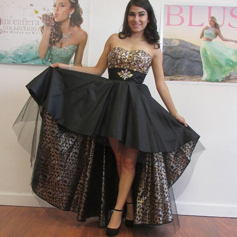 Hot Sale Sweeheart High Low Black Homecoming Dress with Beading Rhinestones