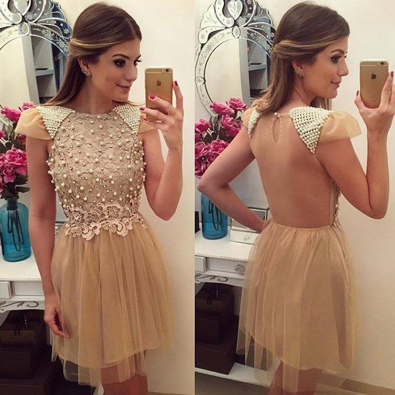 Dramatic Bateau Cap Sleeves Short Illusion Champagne Homecoming Dress with Appliques Pearls