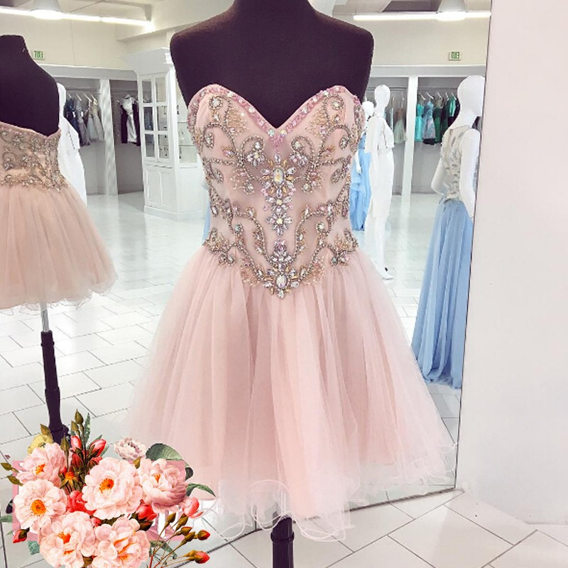 Short Pink Homecoming Dress with Beading Sweetheart Sleeveless