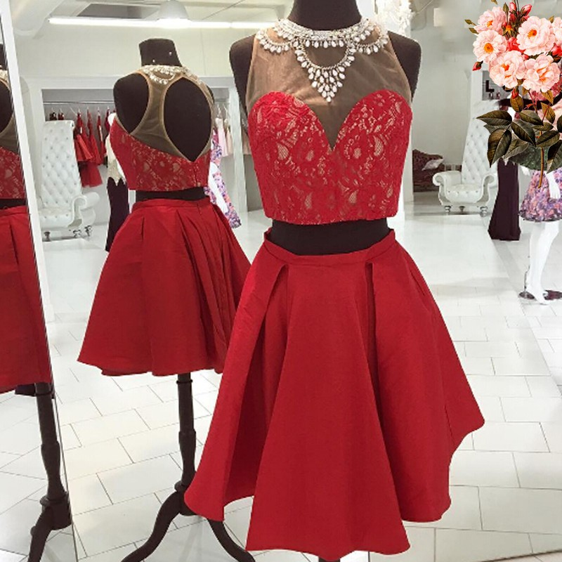 Sexy Cheap 2 Piece Red Homecoming Dress with Beading Lace Under 100