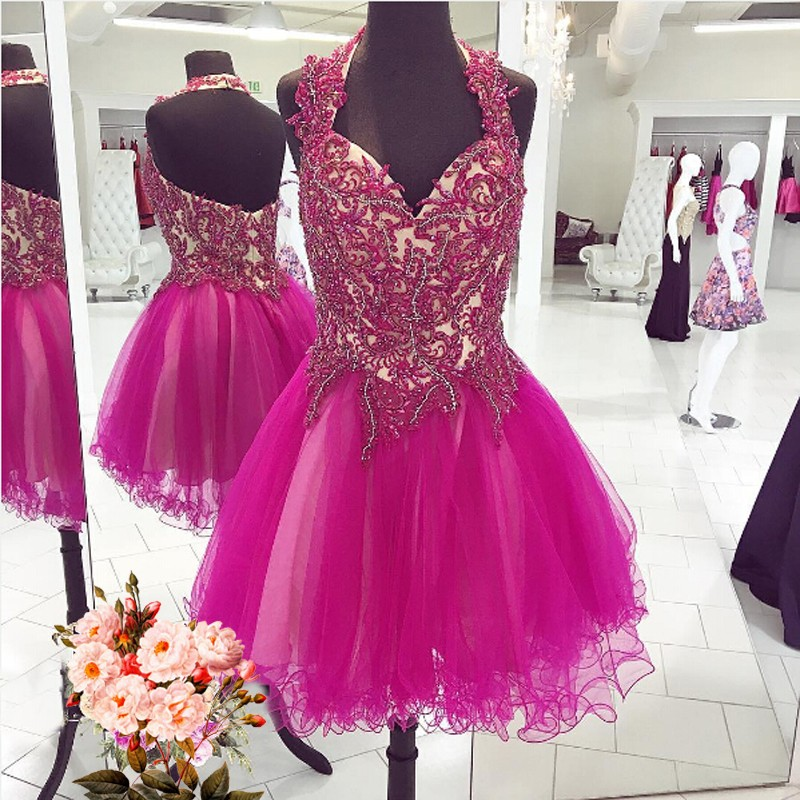 Halter V-neck Fuchsia Homecoming Dress with Appliques Beading Sleeveless Knee-Length