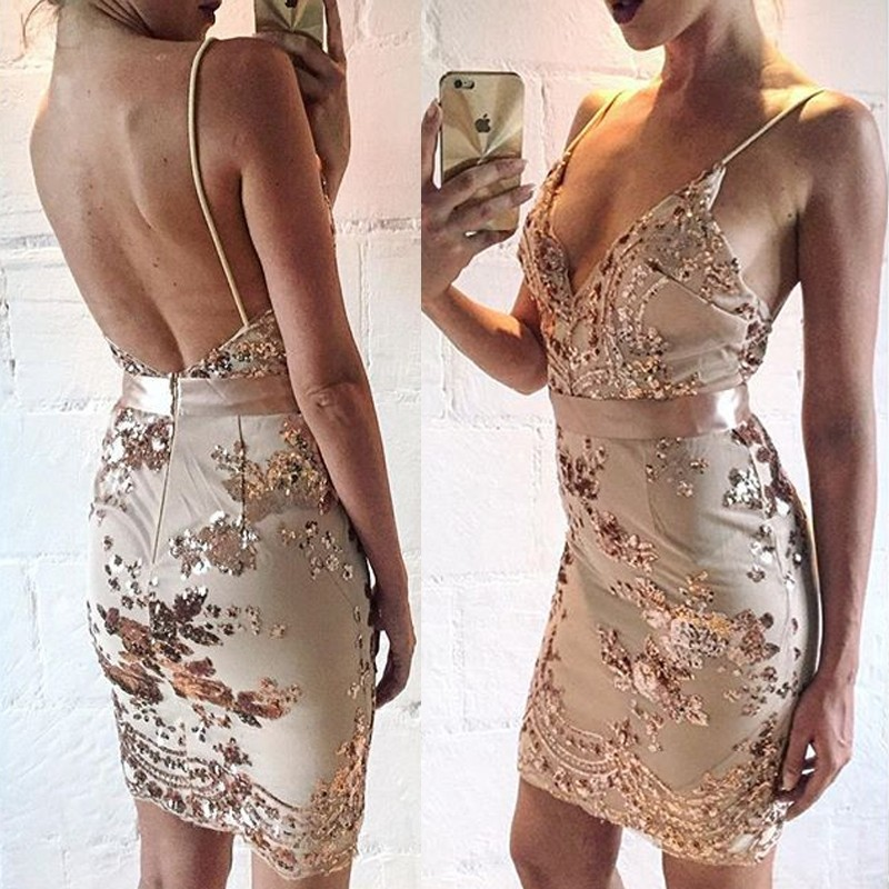Hot Backless Prom Dress - Sheath V Neck Sleeveless Short with Sequins