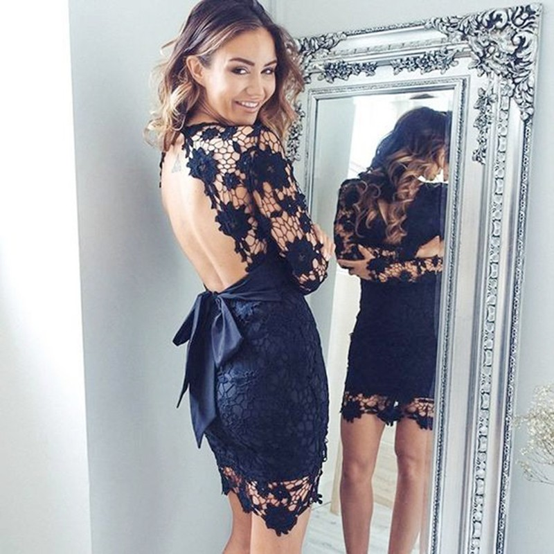 Sheath Navy Blue Short Lace Open Back Homecoming Cocktail Dress with Sash