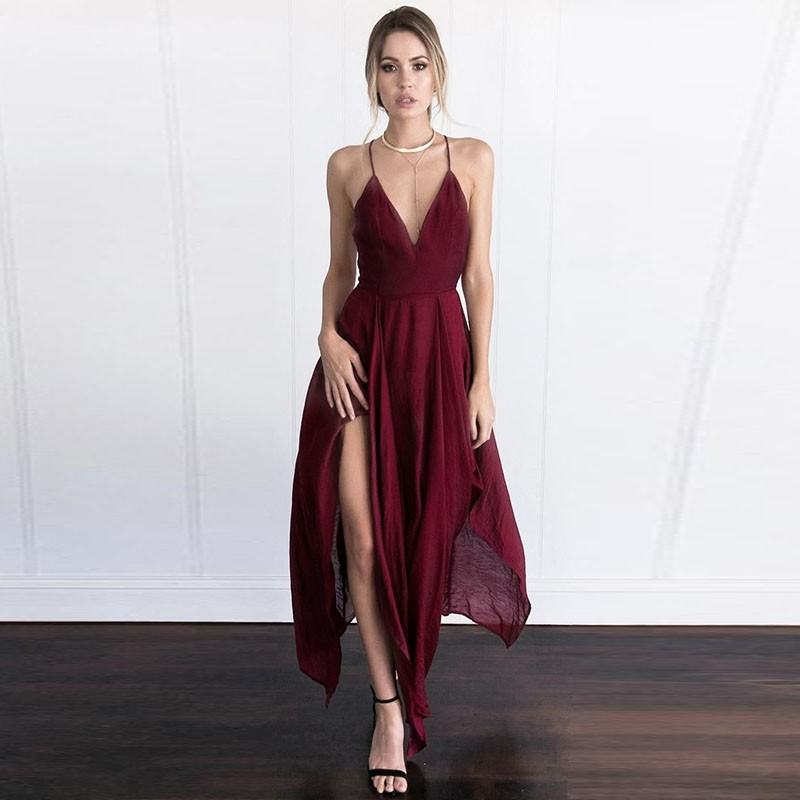 Asymmetrical Prom Homecoming Dress - Deep V-neck Sleeveless Criss-Cross Straps