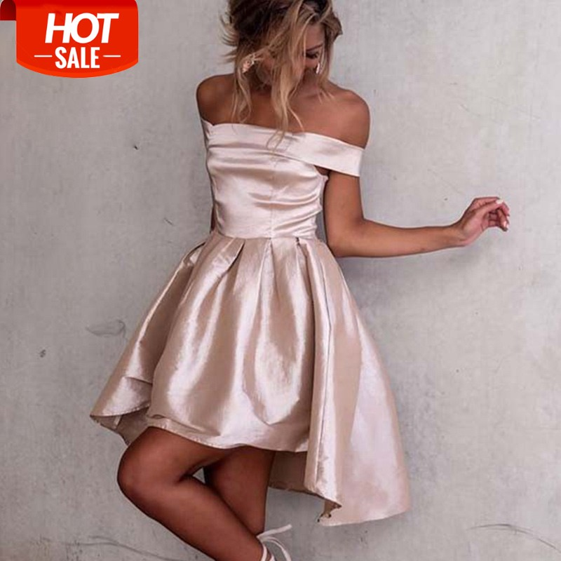 6c01936561 A-Line Off-the-Shoulder High Low Light Champagne Satin Prom Homecoming Dress