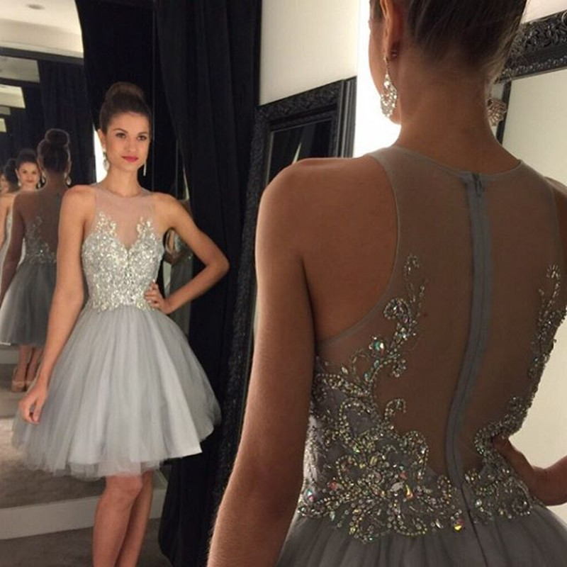 A-Line Illusion Jewel Short Grey Tulle Prom Dress with Beading