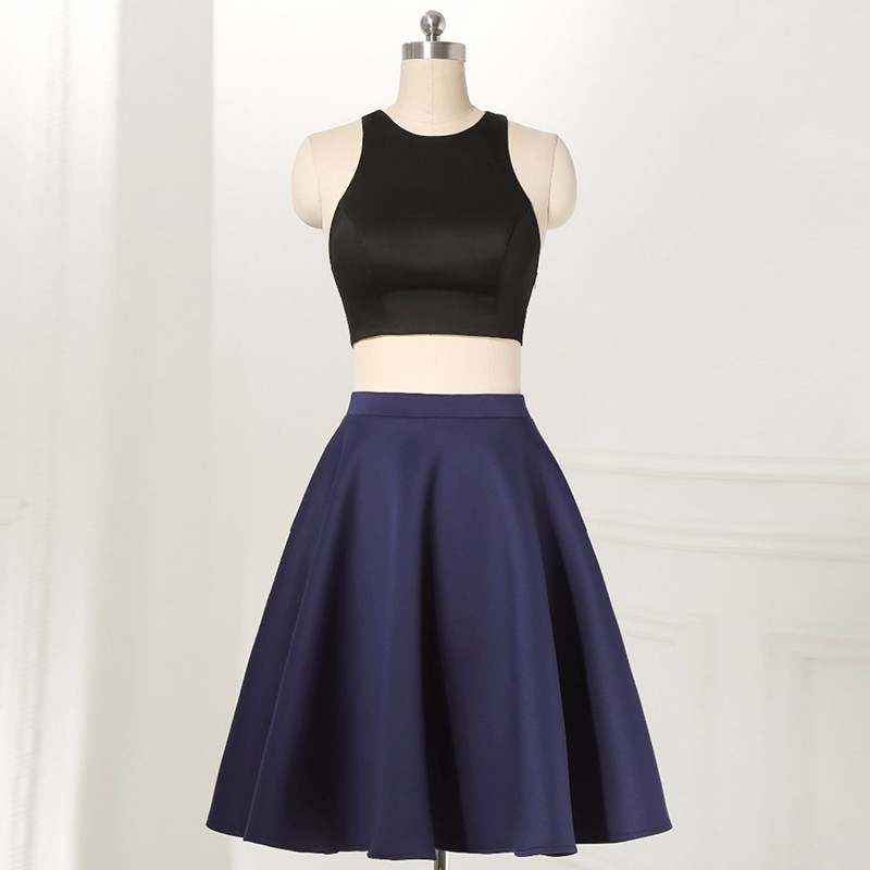 Two Piece Round Neck Sleeveless Short Navy Blue Satin Homecoming Dress