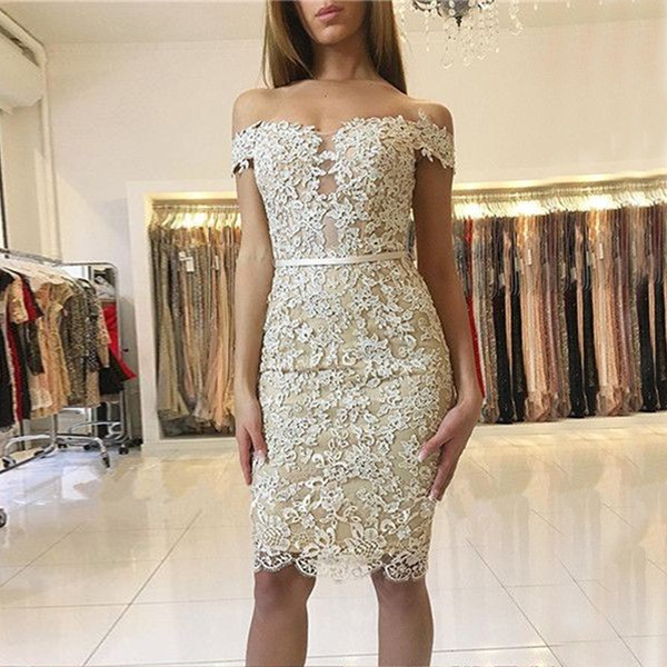 Sheath Off-the-Shoulder Light Champagne Lace Homecoming Dress with Sash