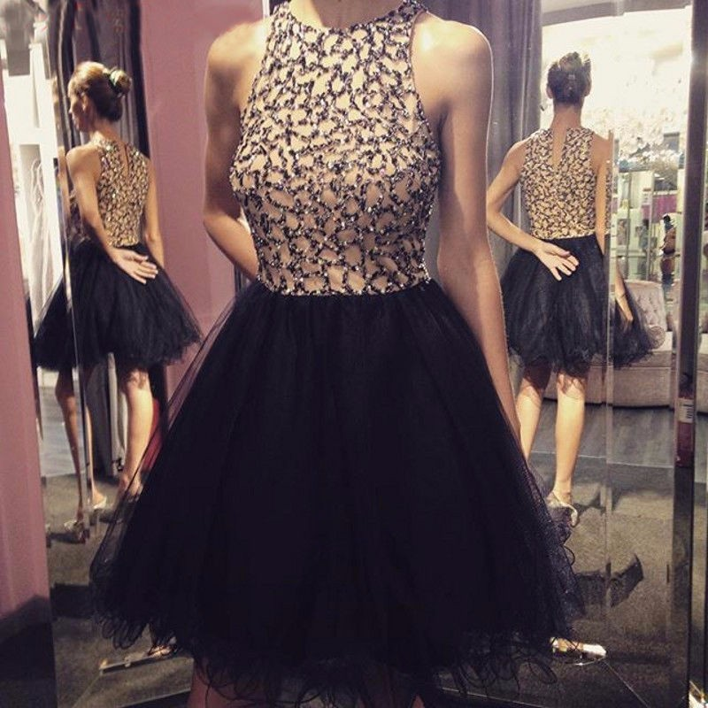 A-Line Round Neck Short Black Tulle Homecoming Dress with Beading