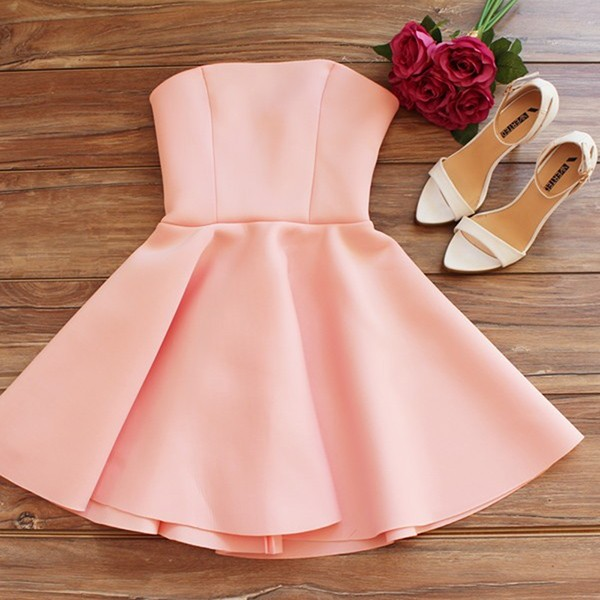 A-Line Strapless Short Pearl Pink Satin Homecoming Cocktail Dress