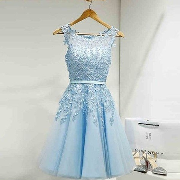 A-Line Bateau Short Blue Tulle Homecoming Dress with Sash Appliques