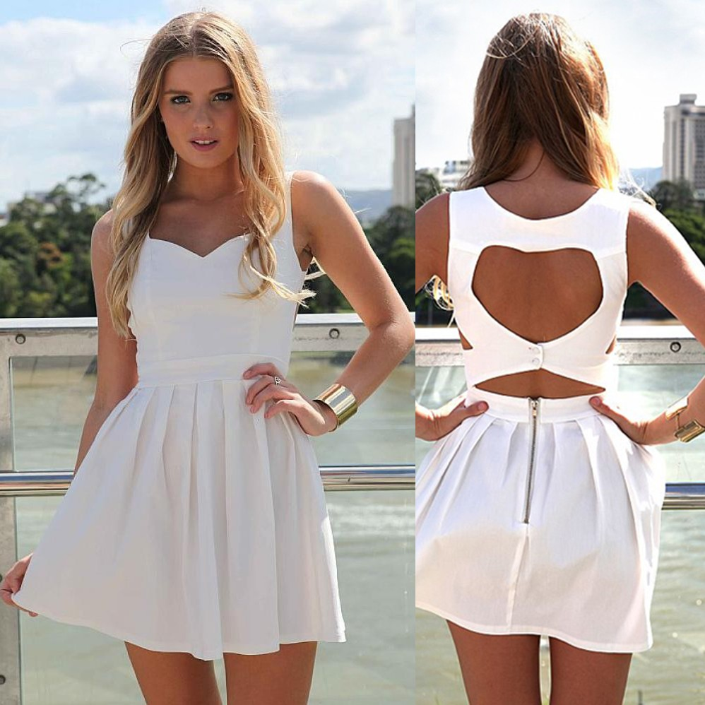 A-Line Scoop Sleeveless Short White Satin Homecoming Dress Open Back