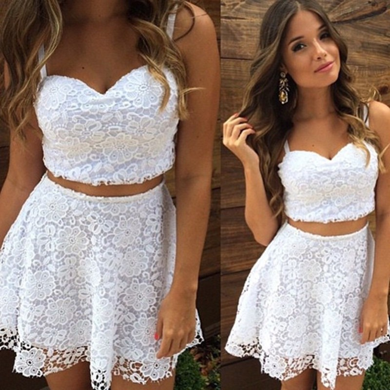 Two Piece Straps Short White Lace Homecoming Cocktail Dress