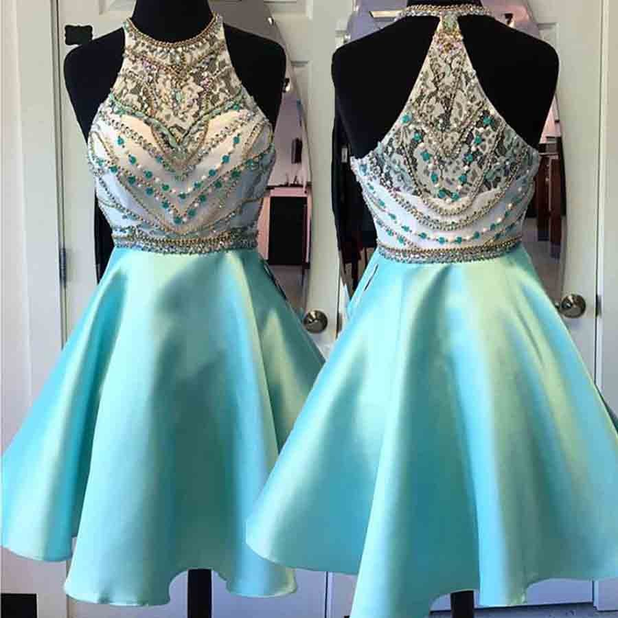 A-Line Round Neck Short Mint Green Satin Homecoming Dress with Beading Lace