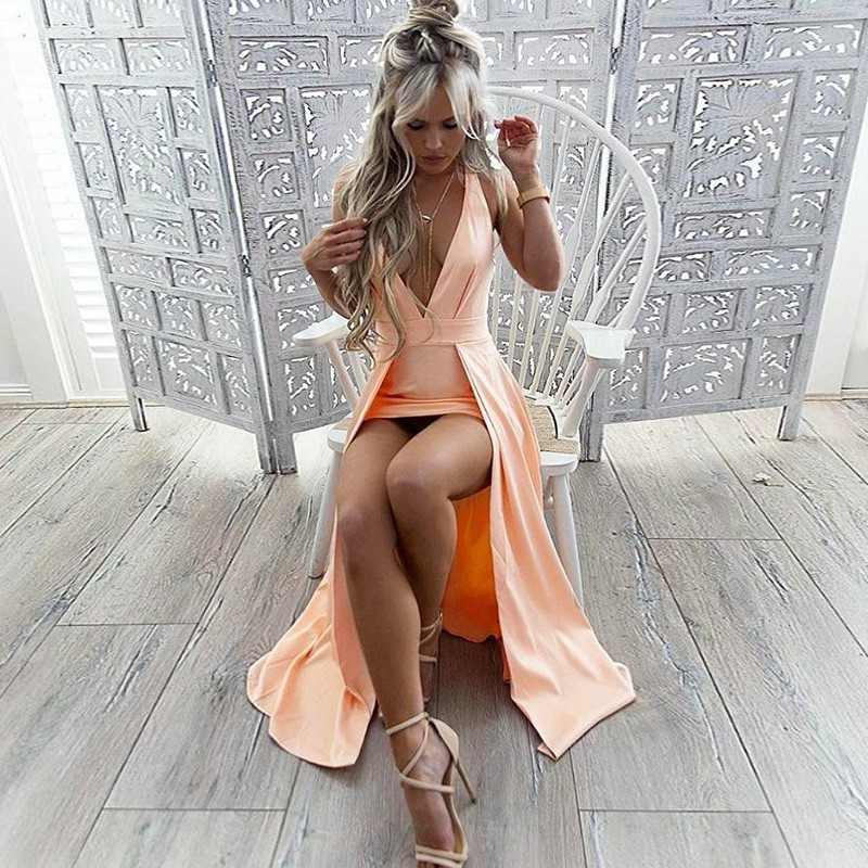 A-Line Deep V-Neck Long Peach Satin Homecoming Prom Dress with Split