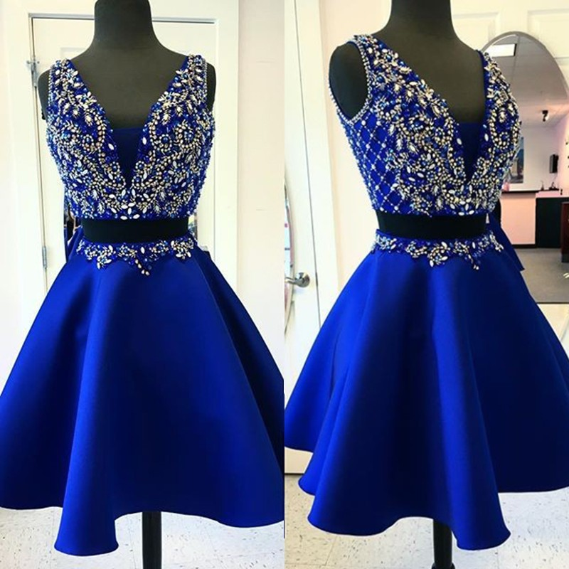Two Piece Deep V-Neck Short Royan Blue Satin Homecoming Dress with Beading