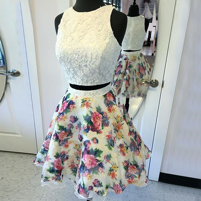 Two Piece Round Neck Short Ivory Printed Chiffon Homecoming Dress with Lace
