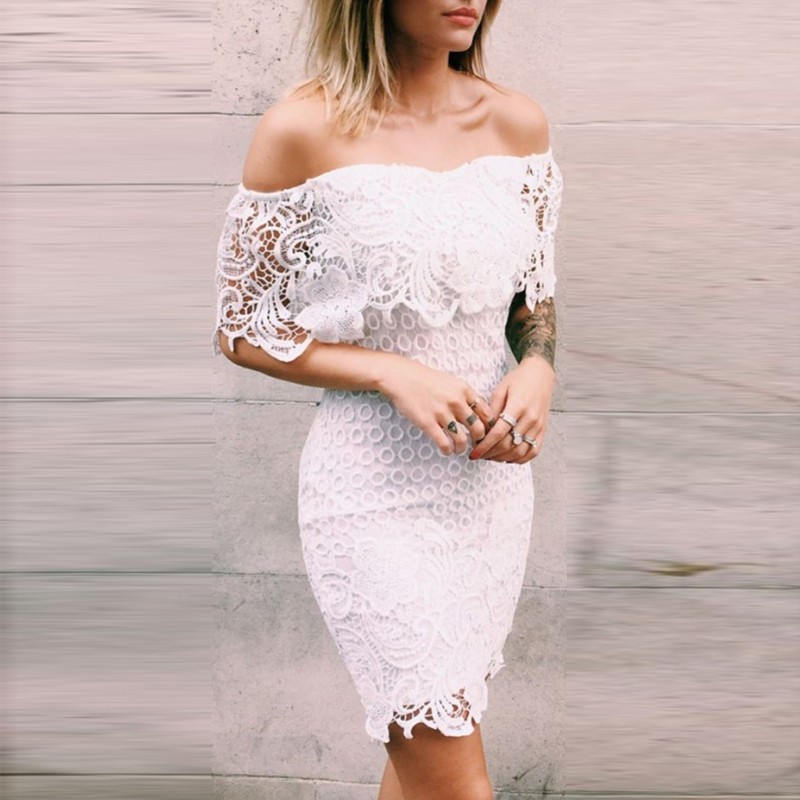 Tight Strapless Short White Lace Homecoming Cocktail Dress with Ruffles