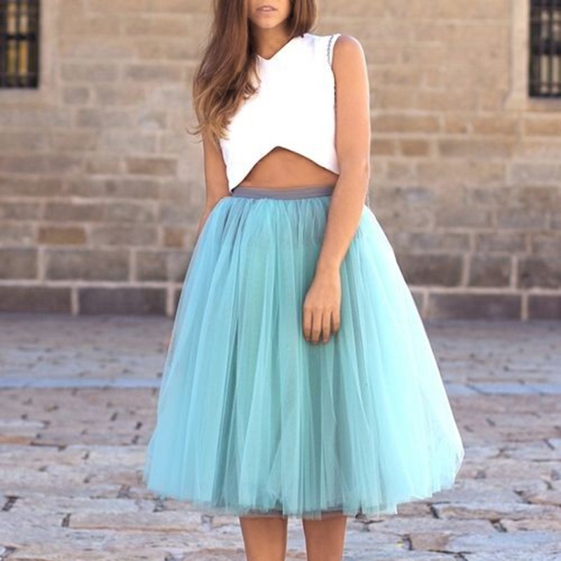 Two Piece V-Neck Mid-Calf Blue Tulle Homecoming Dress