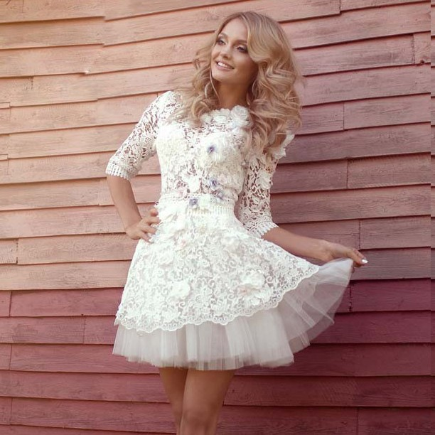 A-Line Round Neck Half Sleeves White Lace Homecoming Dress with Flowers